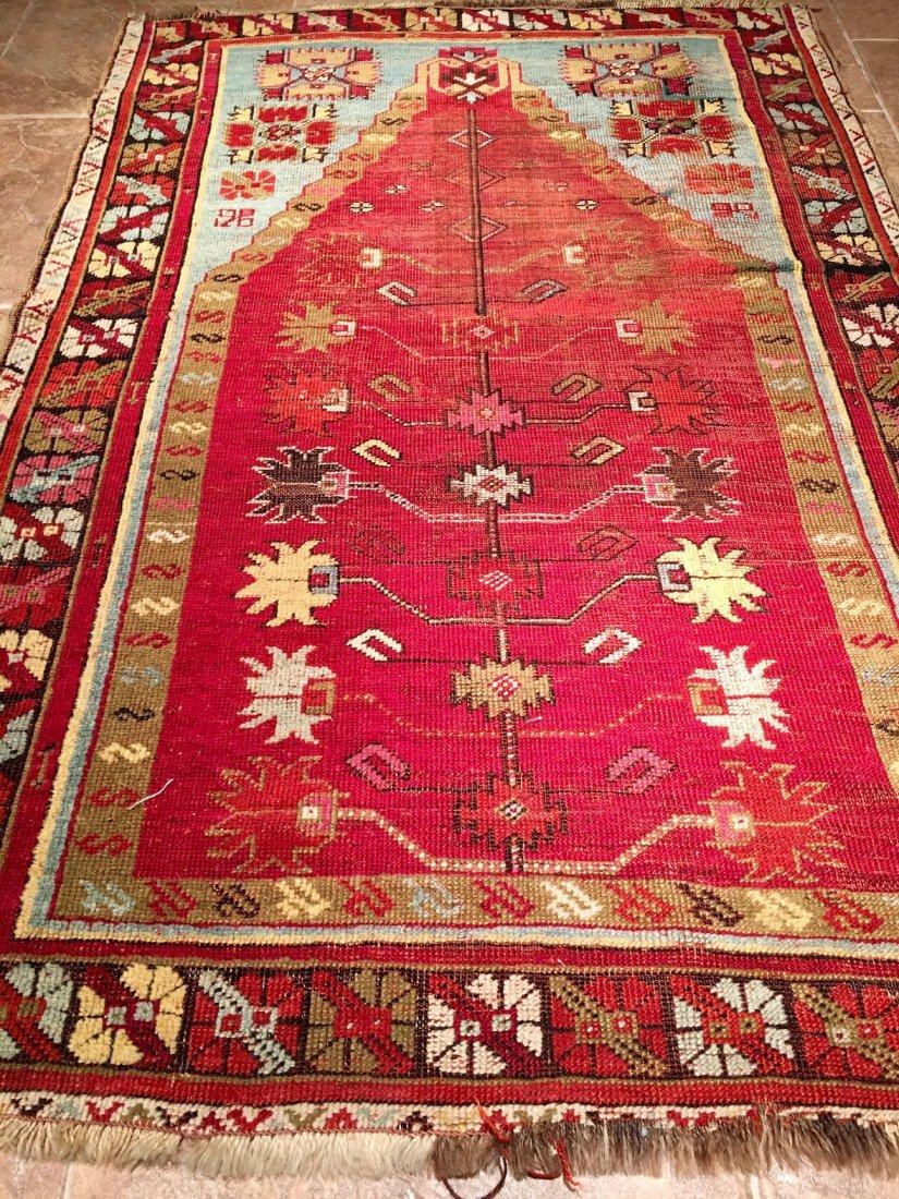 "ANTIQUE TURKISH PRAYER RUG MOSOUL MEASURES 4'8"" X 3'3"" - 2"
