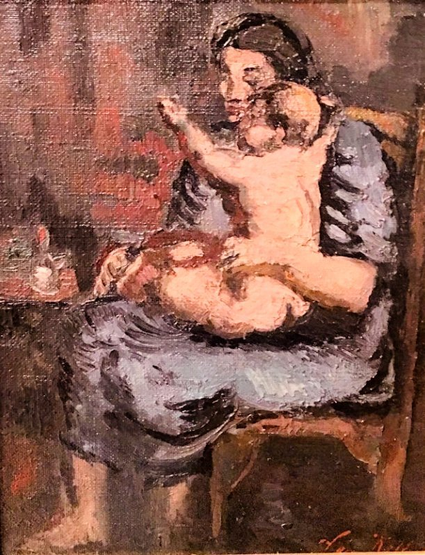 MOTHER AND CHILD SIGNED LEON KELLY (1901-1982) - 2