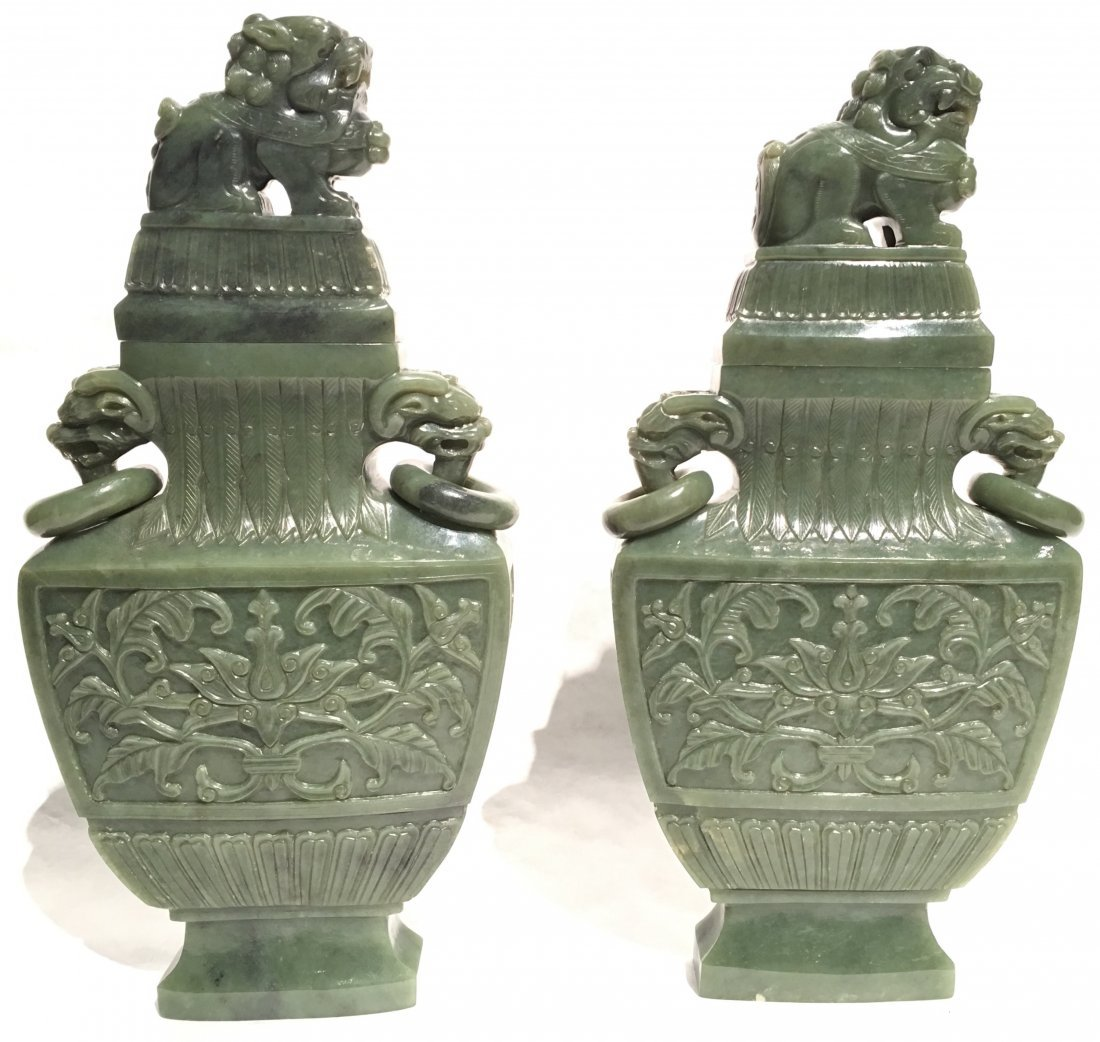 A FINE PAIR OF LARGE CHINESE SPINACH JADE VASES