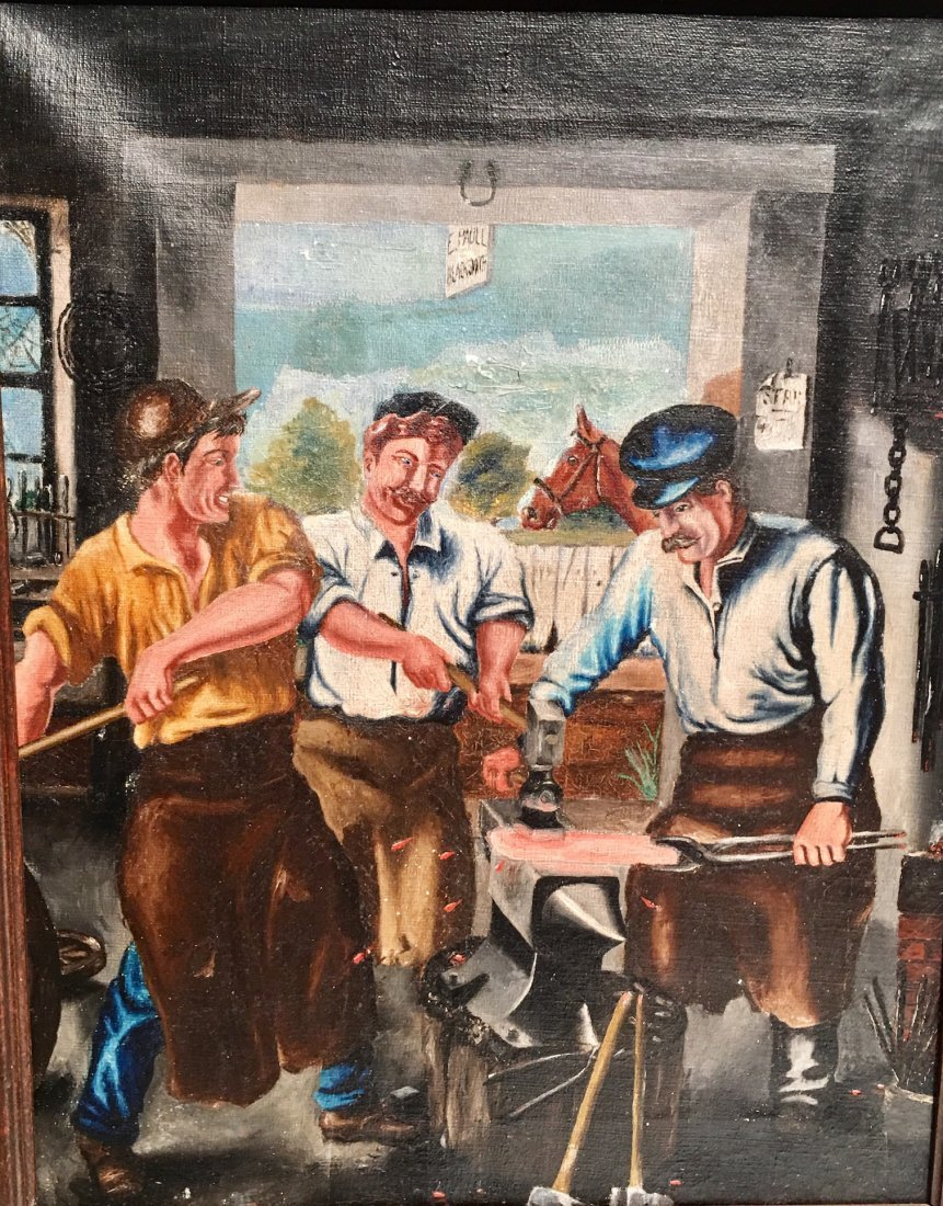 MEN AT WORK OIL ON CANVAS - 2