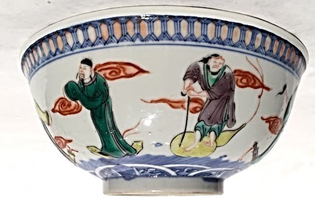 A FAMILLE ROSE-ENAMELED PORCELAIN BOWL (KANGXI MARK)