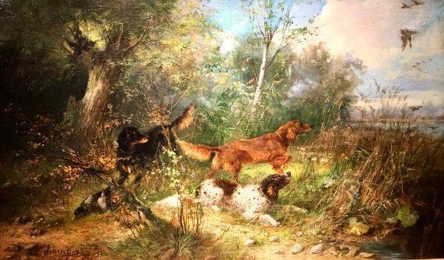 HUNTING DOGS BY JULIUS SCHEUERER