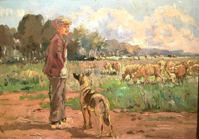 SHEPHERD WITH FLOCK SIGNED CORNELIUS VAN LEEMPUTTEN