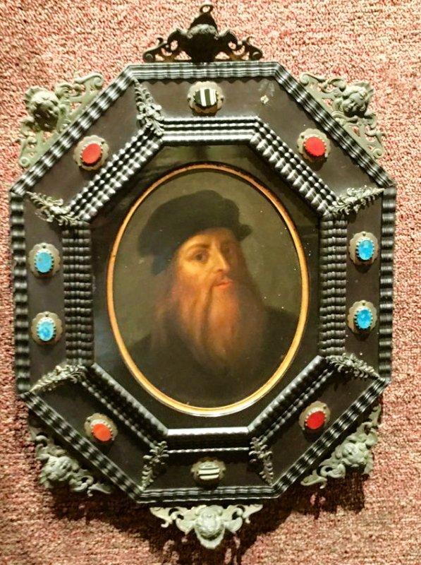 BEAUTIFULLY FRAMED PORTRAIT OF LEONARDO DA VINCI