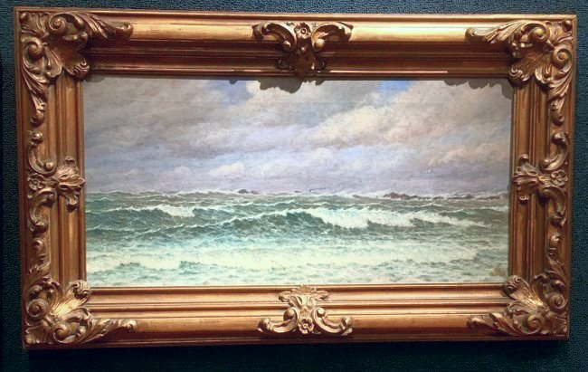 "SIGNED THOMAS MORAN DATED 1912 ""WAVES ON THE BREAK"""