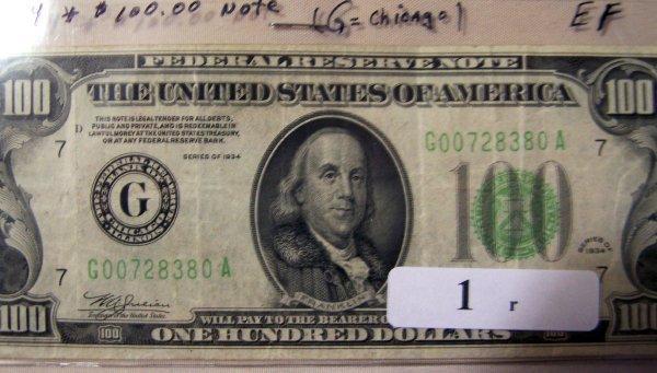 1: 1  $100.00   NOTES     1934  EF