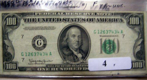 4: 1  $100.00 NOTES       1950D  F
