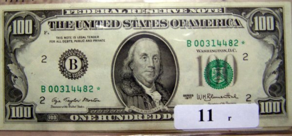 11: 1   $100.00 NOTES                    1977  UNC