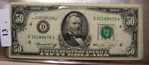 13: 1  $50.00    NOTES     1974  VF