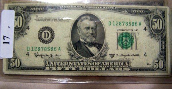 17: 1  $50.00 NOTES        1950D  VF