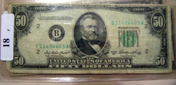 18: 1  $50.00 NOTES        1950A  VG
