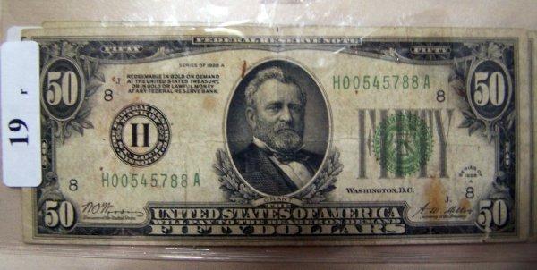 19: 1  $50.00 NOTES      1928A  VG