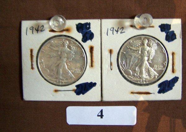 1004: 2 - 1942-WALKING 1/2 DOLLARS  VG
