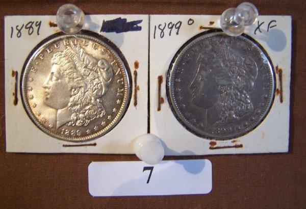 1007: 1-1889 & 1-1899O MORGAN SILVER DOLLARS   AU