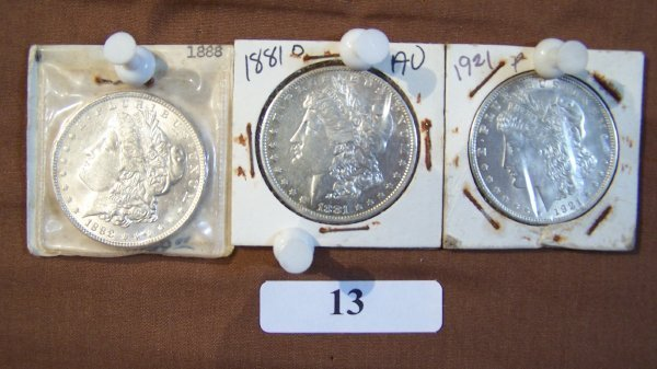 1013: (3) 1-1888 & 1-1881D & 1-1921     MORGAN SILVER D