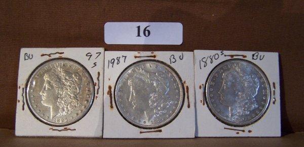 1016: (3) 1-1897S & 1-1887 & 1-1880S           MORGAN S