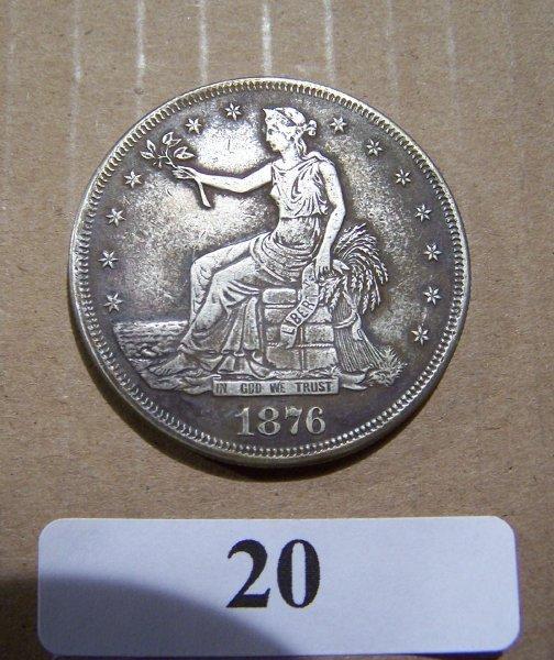 1020: 1876 TRADE DOLLAR    W/FULL MOTTO & LIBERTY EF
