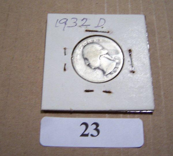 1023: 1932D WASHINGTON QUARTER G TO VG