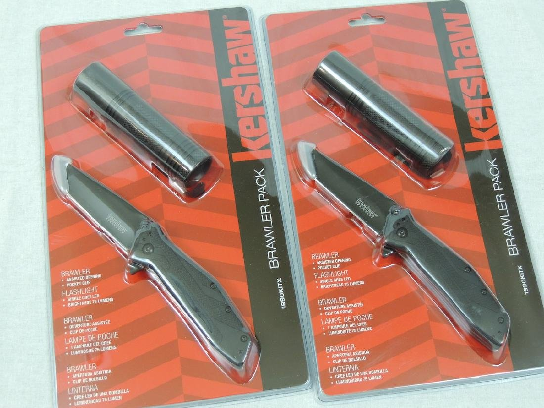 2 Kershaw Brawler Knife Flashlight Pack - New in Box