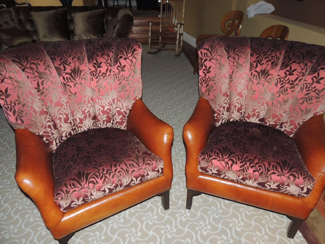 2 Hancock & Moore Plush Leather & Fabric Chairs $350 to