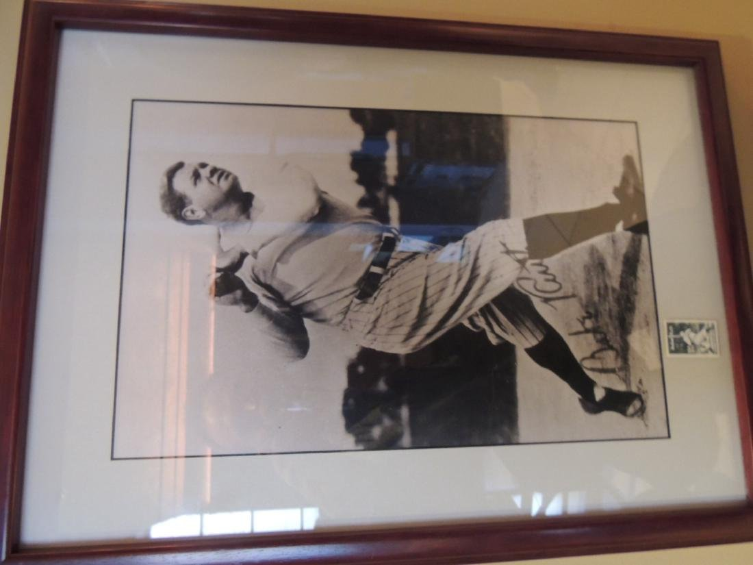 Babe Ruth Signed Photograph with a Babe Ruth Stamp $150
