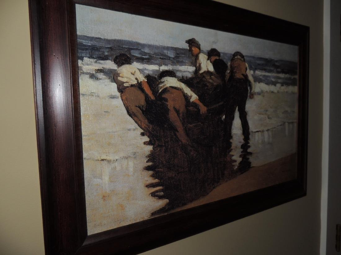 Painting of boys pulling boat into the water by Paul