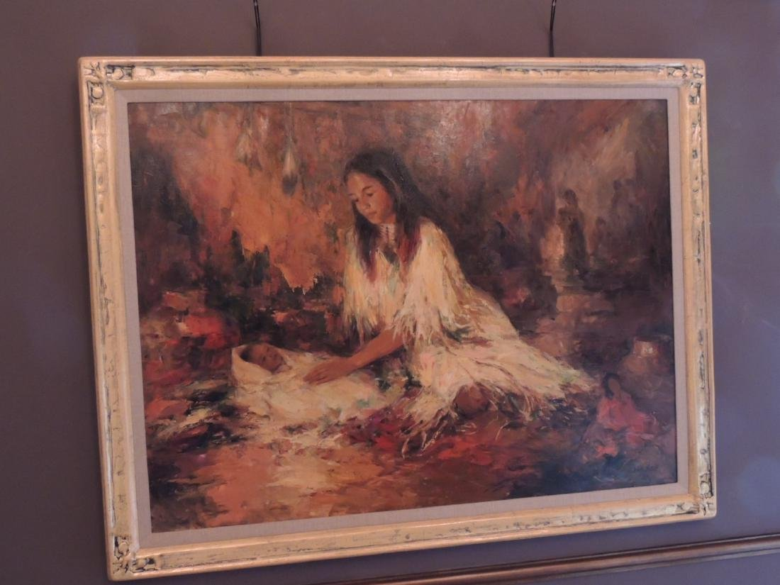 """Oil Painting, """"Young Mother"""", by Marilyn Bendell 36""""H"""