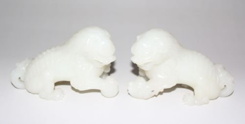 SUPERB & EXTREMELY RARE WHITE JADE, A PAIR LIONS