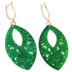 EXQUISITE 18K GOLD DIAMOND JADE EARRINGS