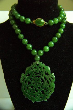SUPERB NATURAL UNTREATED JADE NECKLACE & PENDANT