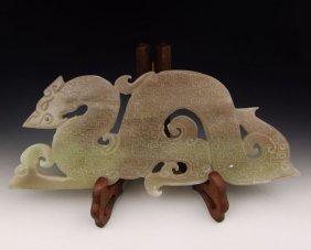 RARE CHINESE ANTIQUE JADE DRAGON CARVED