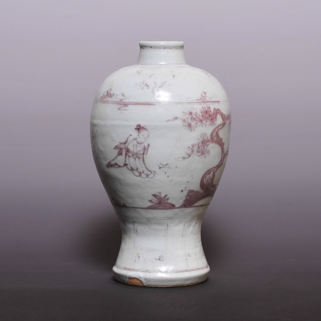 Blank Period, Ming Dynasty a red glaze 'plums' vase