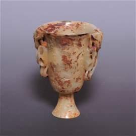 A rare superb Hetian Jade handwork carved goblet, Liao,