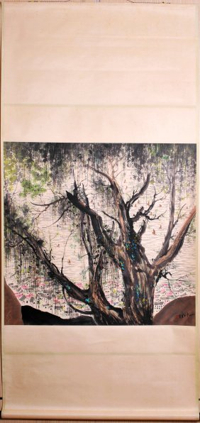 Chinese Scroll Painting (Wu Guanzhong signed)