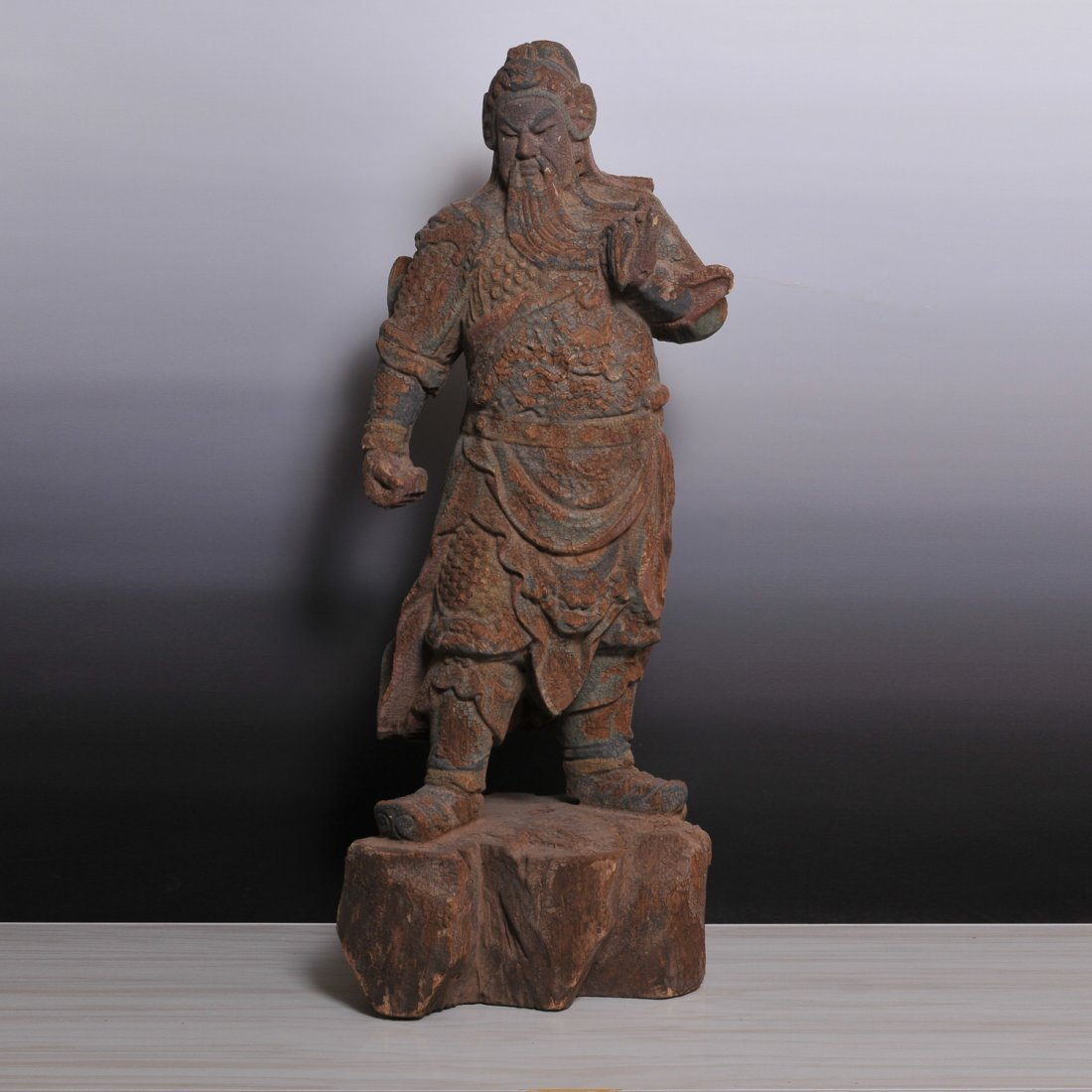 Ming Dynasty, A  Wood Carved 'God of Wealth' Sculpture