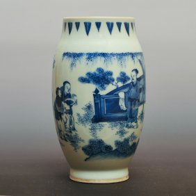 Ming Dynasty, A Chinese Blue And White Porcelain Vase