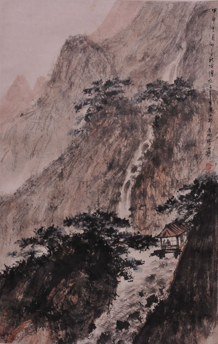 A CHINESE SCROLLING PAINTING (ATTRIBUTED TO FU BAOSHI)