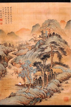 Qian Du, A Chinese Scroll Painting On Silk