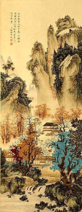 CHEN SHAOMEI, A CHINESE INK AND COLOR SCROLL PAINTING