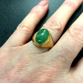 A Vitage Chinese 14k Gold Jadeite Ring ( A )