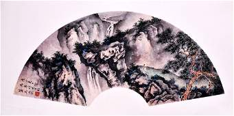 WU HUFAN A CHINESE INK AND COLOR FAN LEAF PAINTING