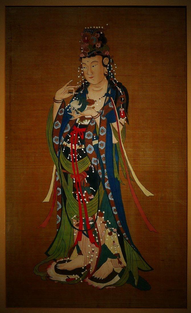 Mid Qing Dynasty Buddha Silk Painting (anonymous)