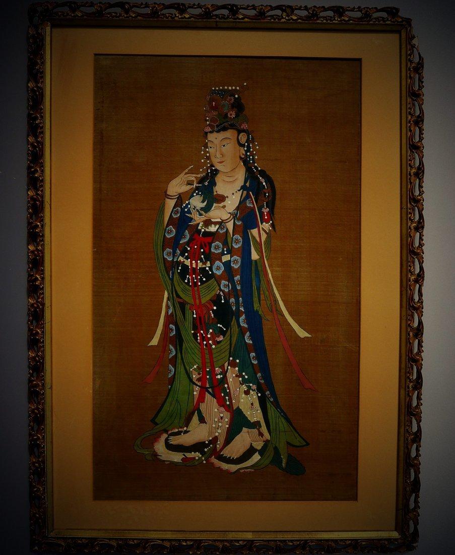Mid Qing Dynasty Buddha Silk Painting (anonymous) - 2