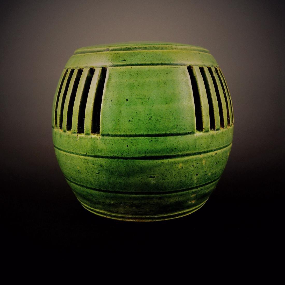 Tang Dynasty green glaze hollow Insense Burner