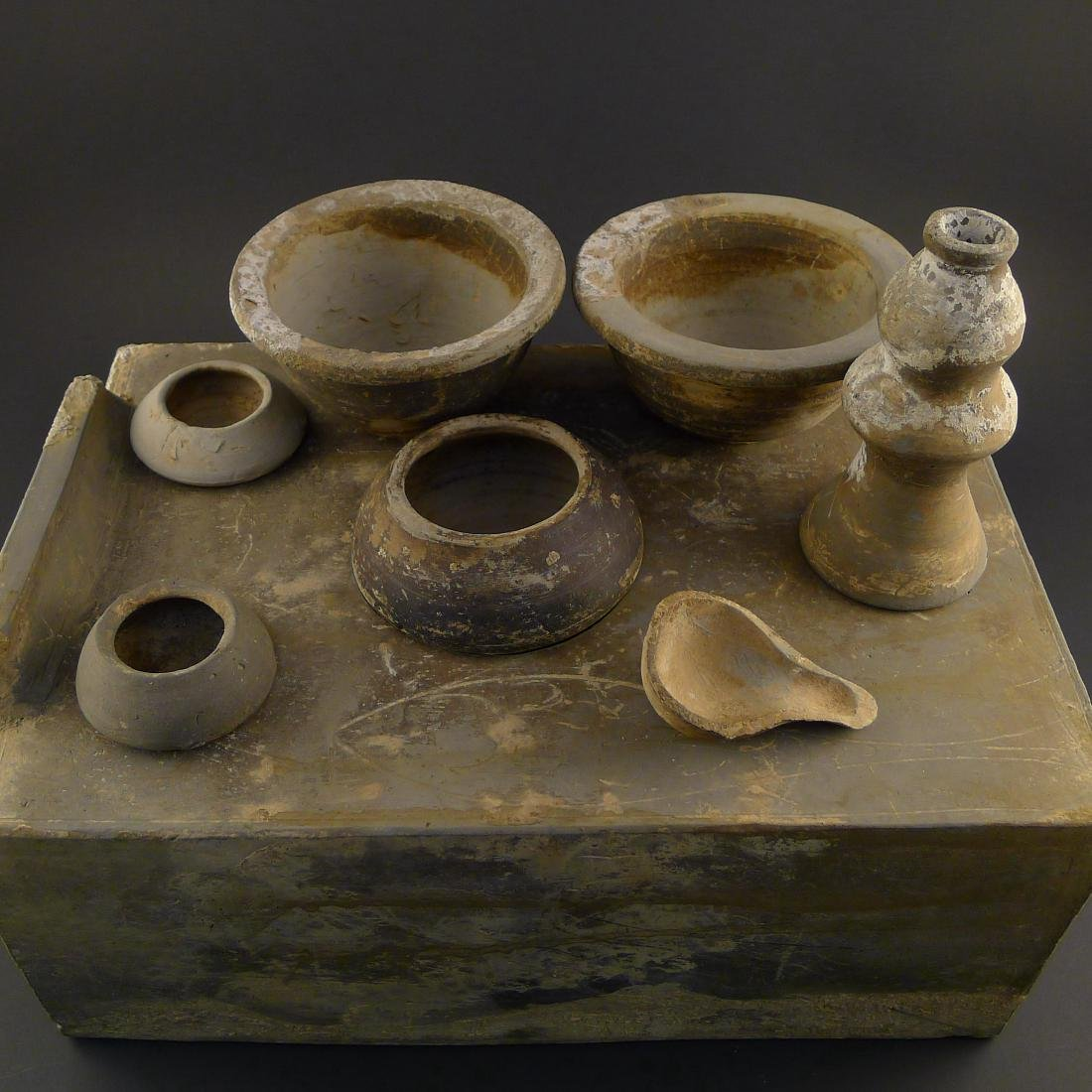 Ancient Chinese Clay Stoneware Tomb Model Cook Stove