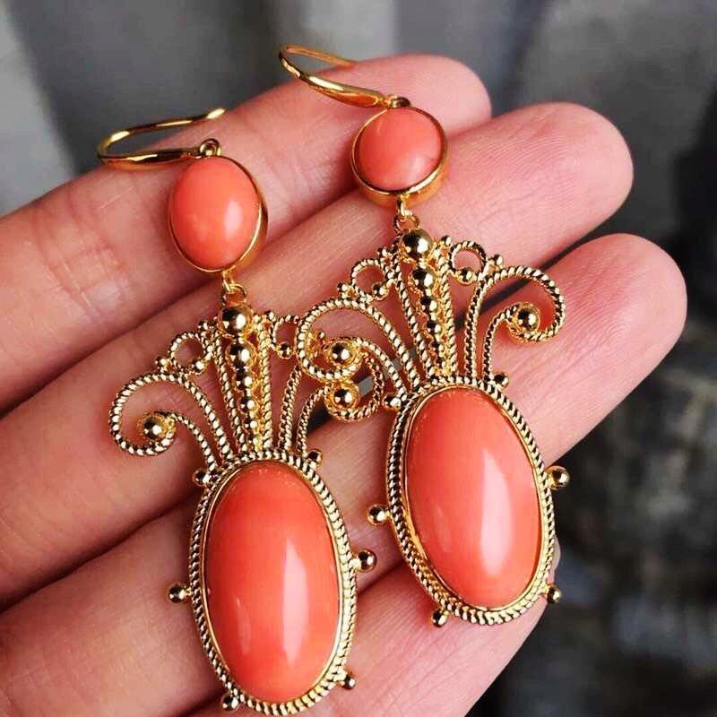 18K Red Coral Earrings