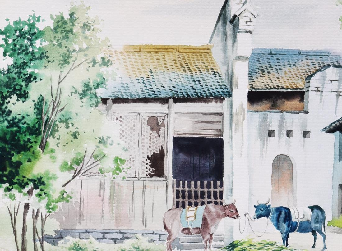 Attributed to Wu Guanzhong (watercolour painting ) - 4