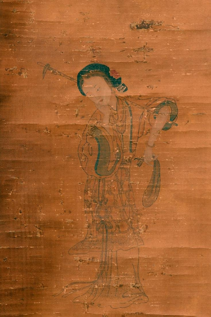 Antique Chinese ink and color painting on silk - 2