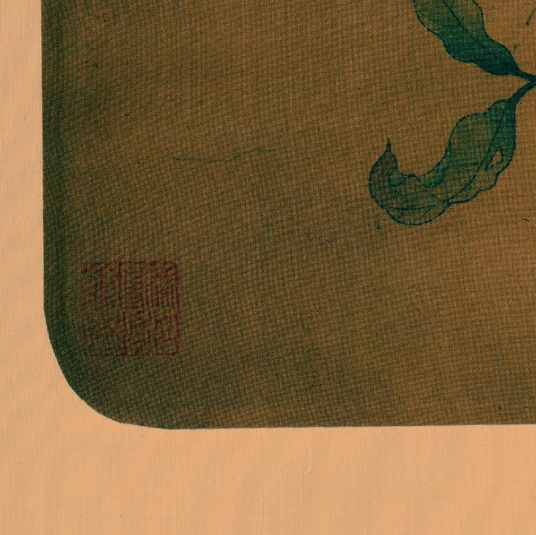 Antique Chinese ink and color painting on silk - 3