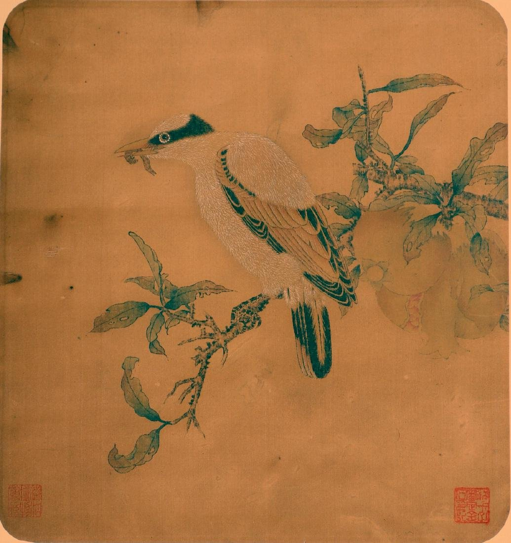 Antique Chinese ink and color painting on silk - 6